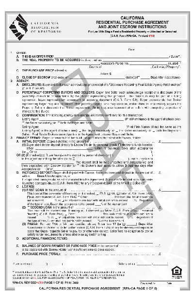 share form car residential purchase agreement revised 413 5512