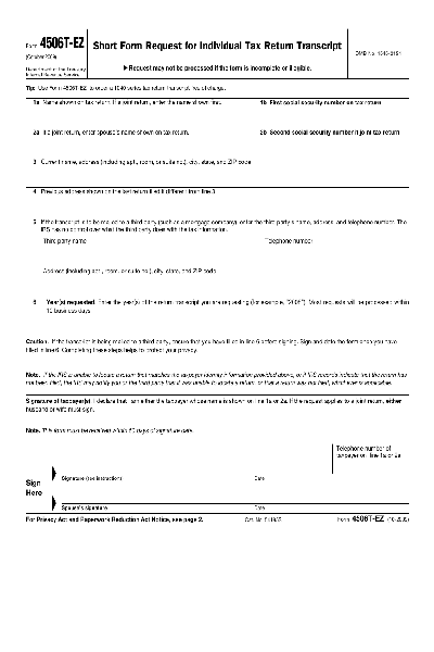Share Formtax Form 4506 Ez 784