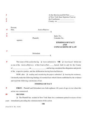 Share Form::NY State - Findings of Fact - Conclusion of Law-993