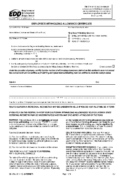 Share Form::California tax withholding (DE4)-824
