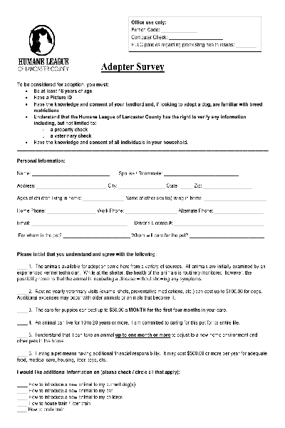 Fill Any PDF Free Forms for adoption : Page 1