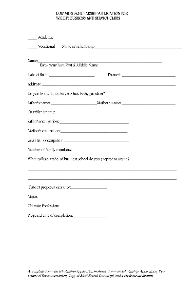 Fill Any PDF Free Forms for scholarship : Page 1