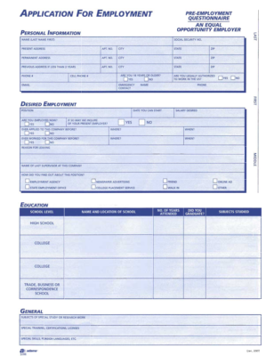 free employment application template pdf