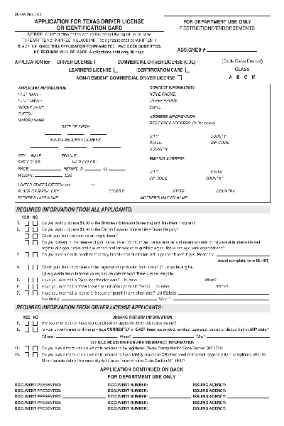 texas drivers license renewal form pdf