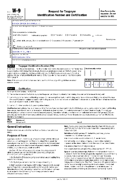 Fill Any PDF Free Forms for w-9 : Page 1