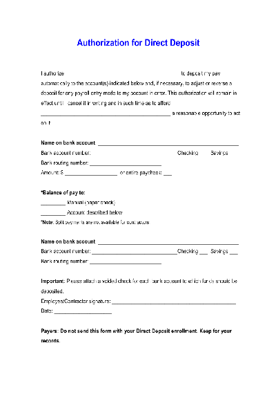 Direct Deposit Bank Form