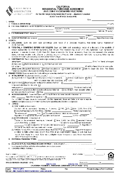 share form residential purchase agreement 5244