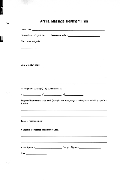 Animal massage treatment plan pdf form free download