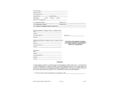 petition or application for order