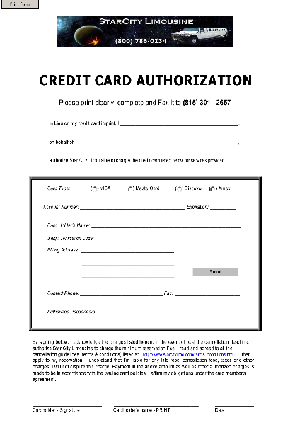 Blank Credit Card Authorization Form – Credit Card Authorization Letter